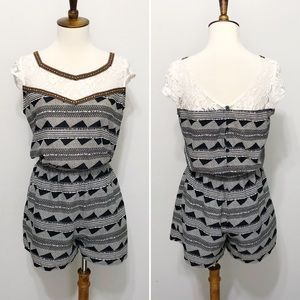 Collective Concepts Lace-Yoke Tribal Print Romper